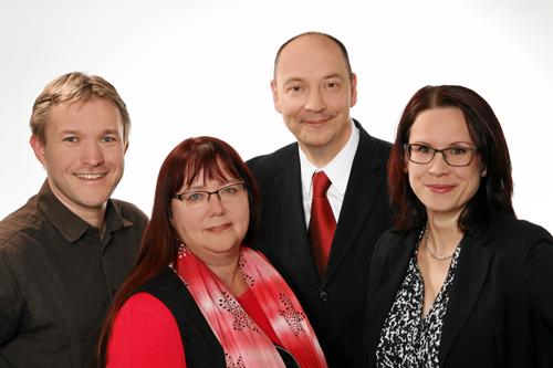 SPD-Fraktion Gera. Hinten: Uwe Rüdiger, Monika Hofmann. Vorn: Heiner Fritzsche, Melanie Siebelist
